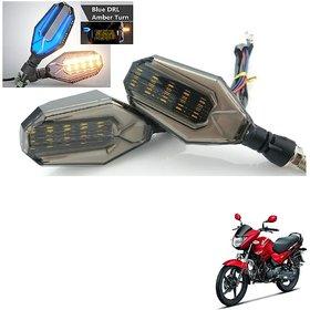 Auto Addict Bike Indicator Lights U shaped 4Pcs DRL (Blue) Turn Signal Lights (Yellow) For Hero Glamour PGmfi