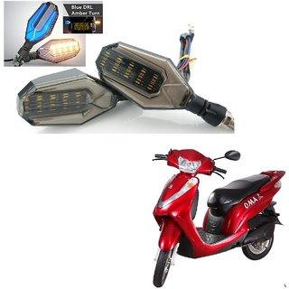 Auto Addict Bike Indicator Lights U shaped 4Pcs DRL (Blue) Turn Signal Lights (Yellow) For Lohia Oma Star