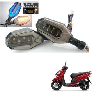 Auto Addict Bike Indicator Lights U shaped 4Pcs DRL (Blue) Turn Signal Lights (Yellow) For Honda Grazia