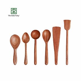 The Indus Valley Wooden Spatula for Cooking  Serving  Neem Wood   Set of 6