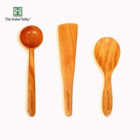 The Indus Valley Neem Wood Ladles Spatula Combos for Cooking and Serving, Stirrer 30 cm, Flip 32 cm, Serve 25 cm