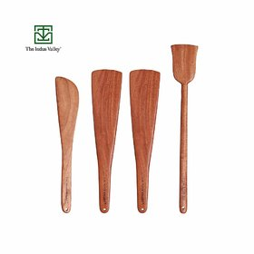 The Indus Valley Dosa Roti Spatula Set of 4 - Neem Wood Cooking Ladles (Wooden Spoons for Pan)