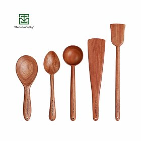 The Indus Valley Wooden Spatula for Cooking  Serving  Neem Wood   Set of 5