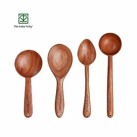 The Indus Valley Neem Wood Spatulas for Cooking  Serving  Thick, Long, Sturdy, Large  Set of 4
