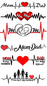Voorkoms Mom Dad With Heart Tattoo Waterproof Men and Women Temporary Body Tattoo
