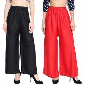 Anshu Imported Rayon Black and Red Palazzo Pant Indian Ethnic Plain Casual Wear Palazzo Pant for Women's and Girls