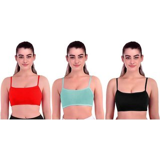 Women's Girl's Padded-Removable(Multicolour-Free Size) SIX STRAP Bra -Combo Of 3