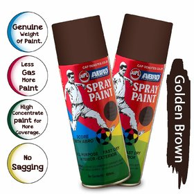 ABRO SP-143 Multipurpose Colour Spray Paint Can for Cars and Bikes (Golden Brown, 400ml, 2 PCS)
