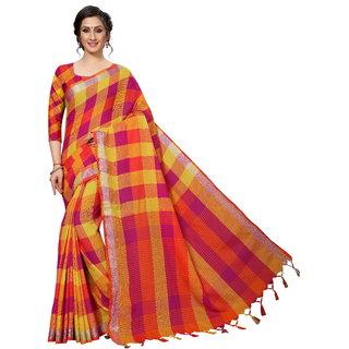 Rumon Checkered Daily Wear Handloom Cotton Linen Blend Saree (Magenta)