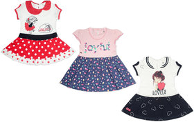 Kothari Printed Round Neck Sleeveless Casual Fit Below Knee Length Cotton Froc For Baby Girls