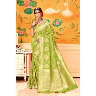 Krishna Fashion Woman's Banarasi Jacquard Art Silk Saree With Blouse Piece.