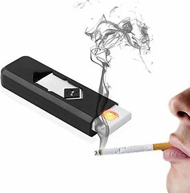 AVMART USB Flameless, Windproof, Electronic and Rechargeable Cigarette Lighter - Black (ABLACKUSBLHTR01A-1)