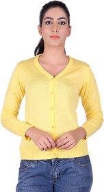 Ogarti woollen full sleeve V neck Lemon Women's  Cardigan