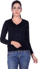 Ogarti woollen full sleeve V neck Black Women's  Cardigan