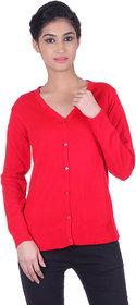 Ogarti woollen full sleeve V neck Red Women's  Cardigan