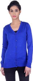 Ogarti woollen full sleeve V neck Royal Blue Women's  Cardigan