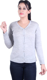 Ogarti woollen full sleeve V neck Grey Women's  Cardigan
