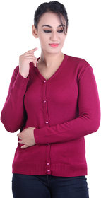 Ogarti woollen full sleeve V neck Magenta Women's  Cardigan