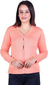 Ogarti woollen full sleeve V neck peach Women's  Cardigan