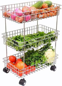 BLUMOON Stainless Steel Silver Multipurpose Storage Shelf, Kitchen Rack  Triple Tire Trolley Fruits/Vegetables