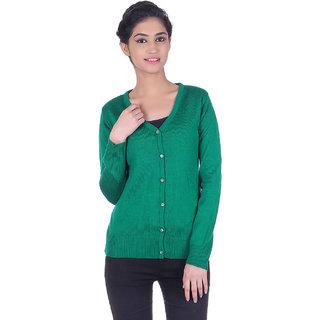 Ogarti woollen full sleeve V neck Green Women's  Cardigan