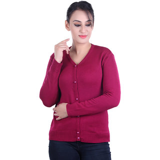Ogarti woollen full sleeve V neck Magenta Women's  Cardigan