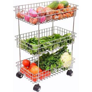 BLUMOON Stainless Steel Silver Multipurpose Storage Shelf, Kitchen Rack -Triple Tire Trolley Fruits/Vegetables