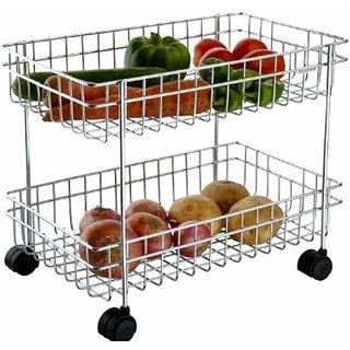 BLUMOON (Small Size) Multipurpose Perforated Portable Design Vegetable  Fruit Stand 4- Stainless Steel Kitchen TrOLLY