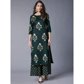 Ultimalte Ecommerce New Foil Print Pattern Green Color Rayon Kurti With Plazzo ( Green )