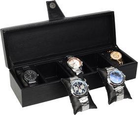 LEAKRAFT Watch Box 5 Slots Watches Organizer Case Box PU Synthetic Men Women