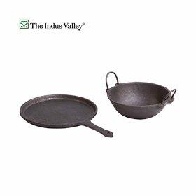The Indus Valley Cast Iron Cookware Set - Dosa Tawa (10Inch) + Kadai (1.5L)