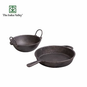 The Indus Valley Cast Iron Cookware Set - Skillet (10Inch) + Kadai (1.5L)