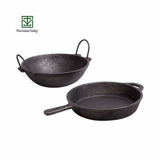 The Indus Valley Cast Iron Cookware Set - Skillet (10Inch) + Kadai (2.5L)