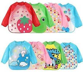CHILD CHIC Full Sleeved Washable Waterproof Bib Apron for Babies  Kids (RANDOM PRINTS) SET OF 2