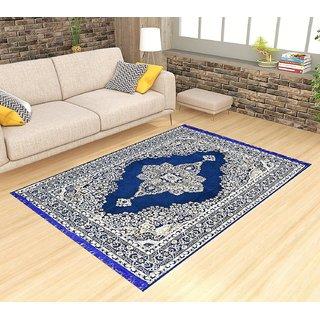 Peponi Chenille Velvet Maroon Carpet For Living Room Set Of 1 (7X5Feet )
