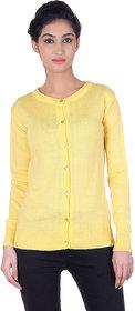 Ogarti woollen full sleeve round neck Yellow Women's  Cardigan
