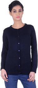 Ogarti woollen full sleeve round neck Navy Women's  Cardigan