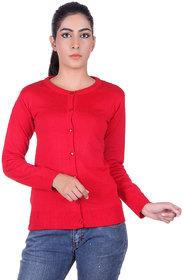 Ogarti woollen full sleeve round neck Red Women's  Cardigan