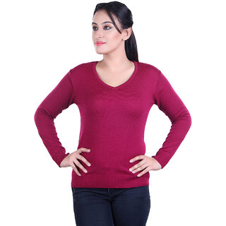 Ogarti woollen full sleeve V neck Magenta Women's  Sweater