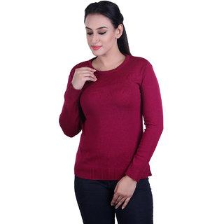 Ogarti woollen full sleeve Round neck Magenta Women's  Sweater