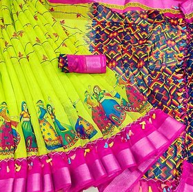 Chakradhar Multicolor Linen Digital Print With Blouse Saree