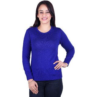 Ogarti woollen full sleeve Round neck Royal Blue Women's  Sweater