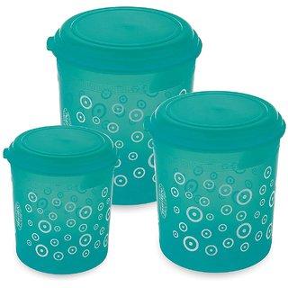 Asian Plastowares Stylo Airtight Plastic Storage Containers, 1 L + 2. 5 L + 4. 1 L, 3-Pieces, Blue