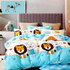 HomeStore-YEP Cartoon Print Bedsheet for Kids Double Bed Boys/Girls (Multicolour, 90 x 100 Inch) - Lion  Kitty