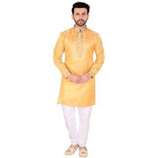 Kandy Yellow Silk Long Kurta For Mens