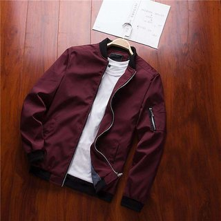 Pause Zipper Slim Fit Bomber Jacket for Men