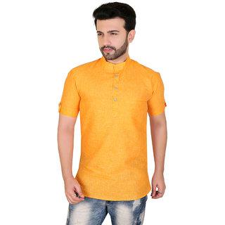 Kandy Dark Yellow Short Kurta For Mens