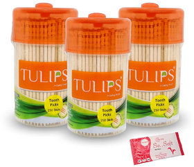 Tulips Wooden Toothpicks 250 Sticks (Pack of 3) with Origami Wet Wipes - 1 Pull