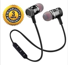Magnetic Wireless In the Ear Bluetooth Headset 3 Months Seller Warranty Color Black  Red