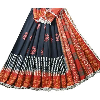 Cotton malmal saree for women from Krush kreations with blouse piece